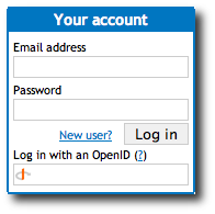 OpenID log in box on Expectnation